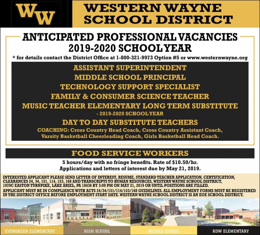 Assistant Superintendent, Middle School Principal, Technology Support Specialist, Family & Consumer Science Teacher, Music TEacher, Food Service Workers