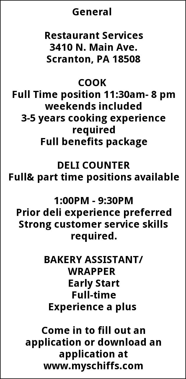 Cook , Deli Counter, Bakery Assistant
