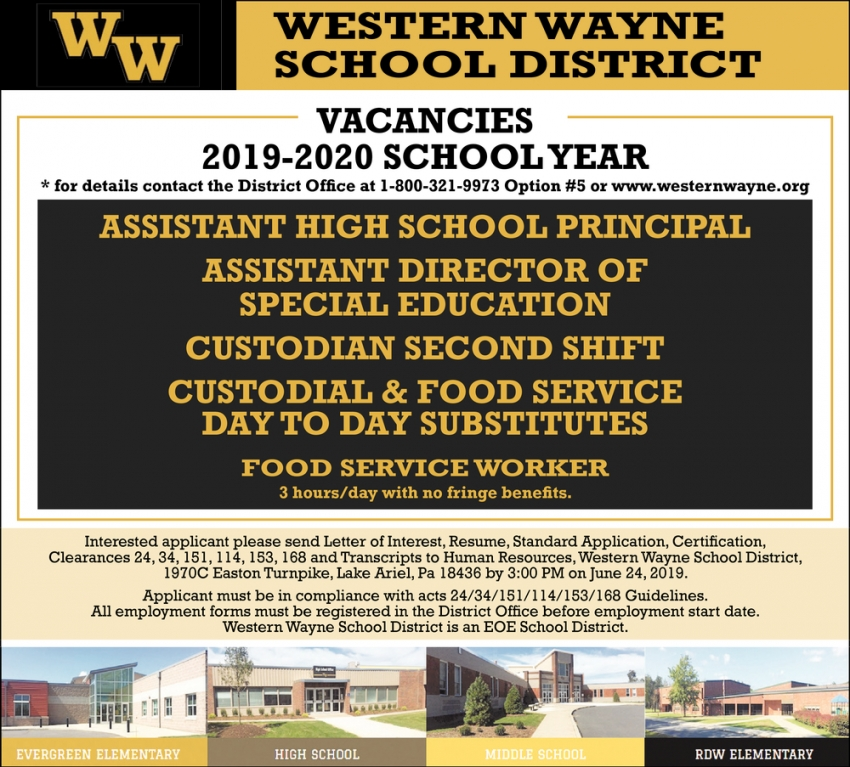 Assistant HIgh School Principal, Assistant Director of Special Education, Custodian,  Custodial and Food Service, Food Service Worker