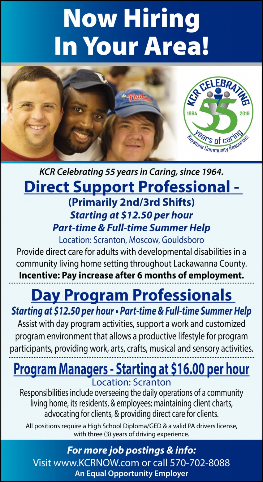 Direct Support Professional - Day Program Professionals