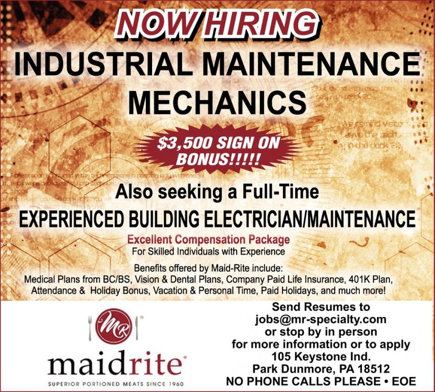Industrial Maintenance Mechanics And Building Maintenance Electrician