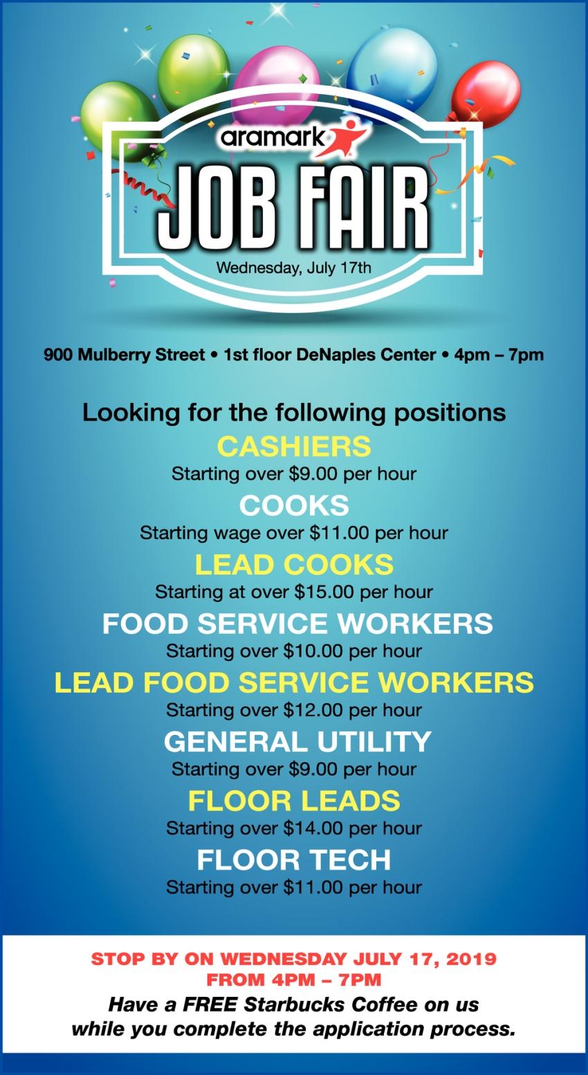 Cashier, Cook, Lead Cook, Food Service Worker, Lead Food Service, General Utility, Floor Lead