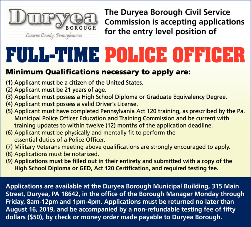 Full-Time Plolice Officer, Duryea Borough