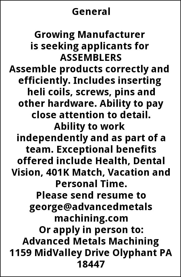 Assemblers Needed