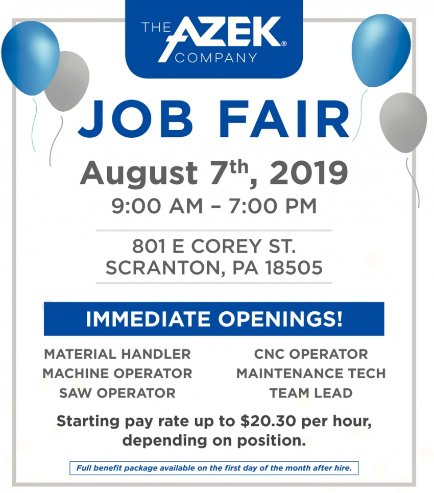 Job Fair August 7th, 2019