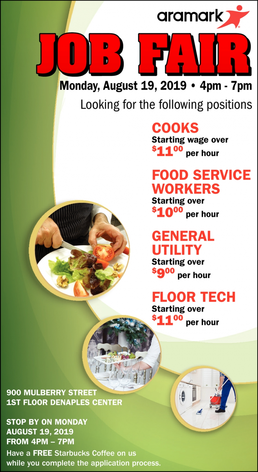 Cooks, Food Service Workers, General Utility, Floor Tech