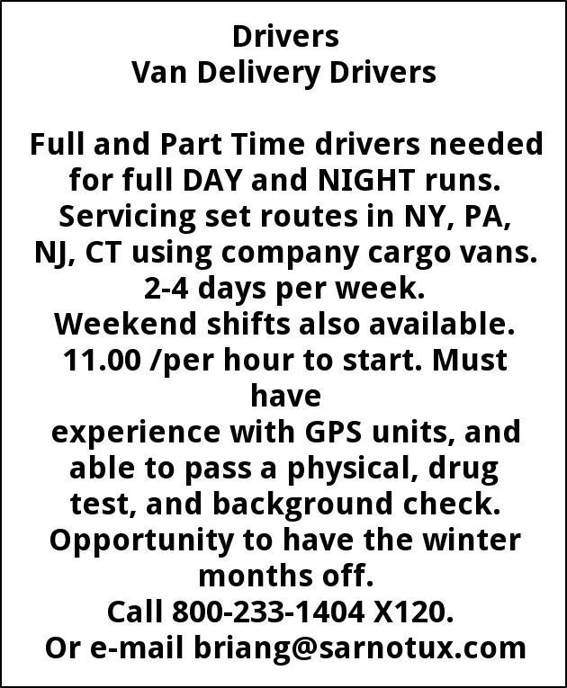 Van Delivery Driver, Sarno & Son