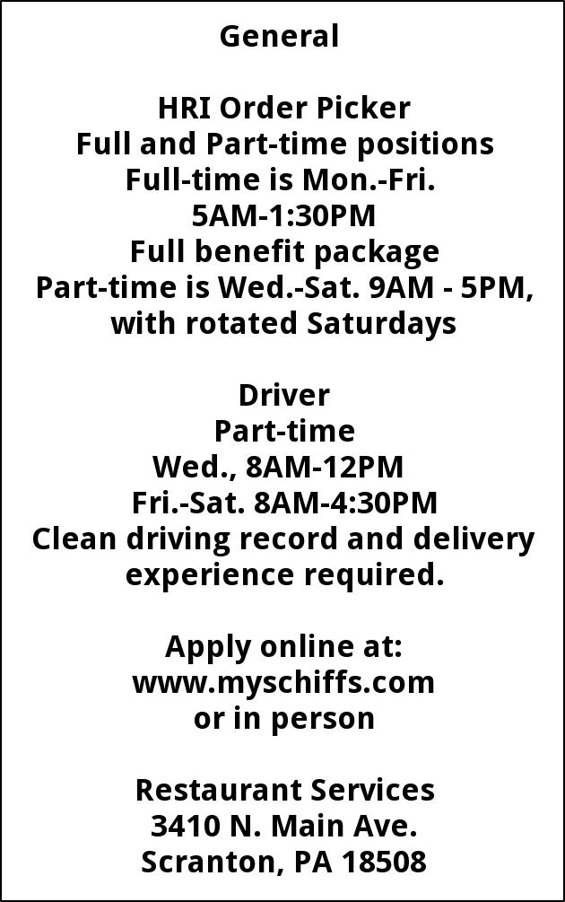 HRI Order Picker - Part Time Driver