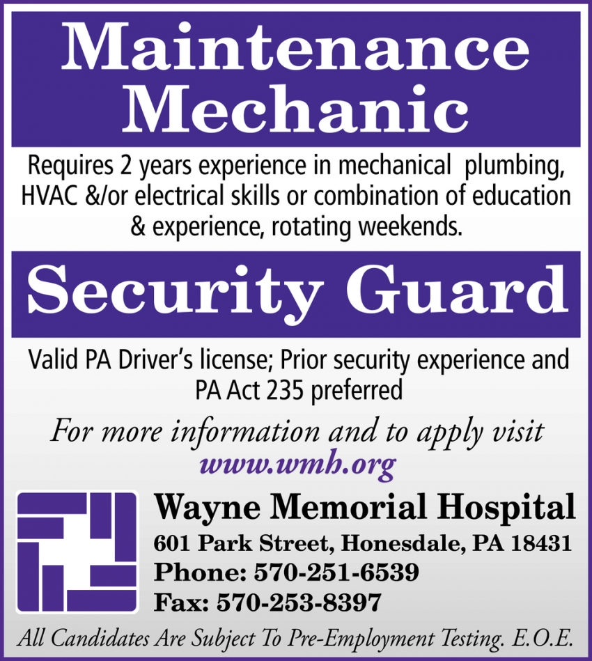 Maintenance Mechanic - Security Guard
