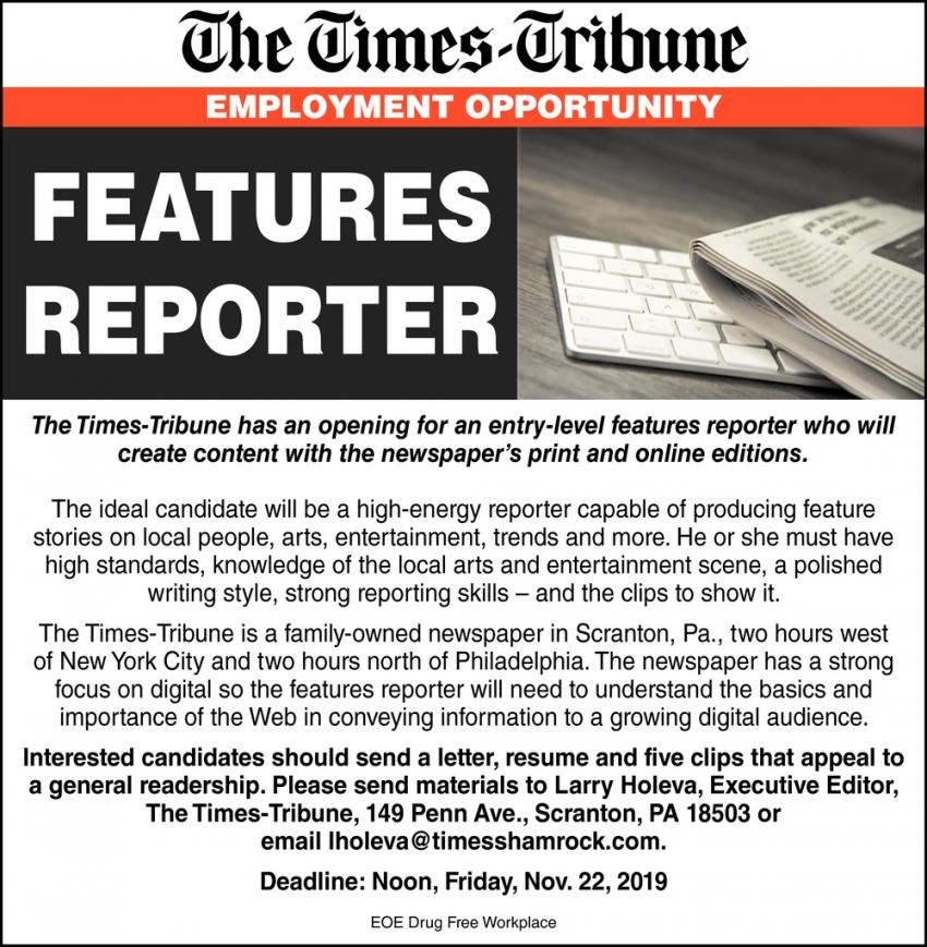 Features Reporter Needed