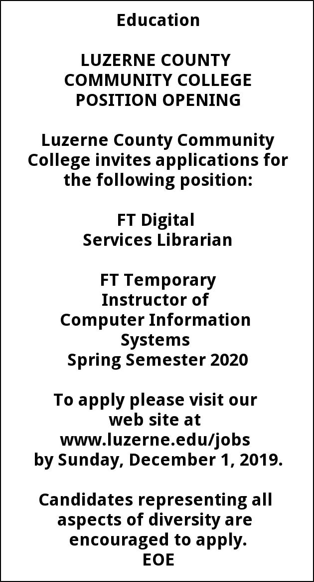 Digital Services Librarian, FT Temporary Instructor of Computer Information Systems Spring Semester 2020