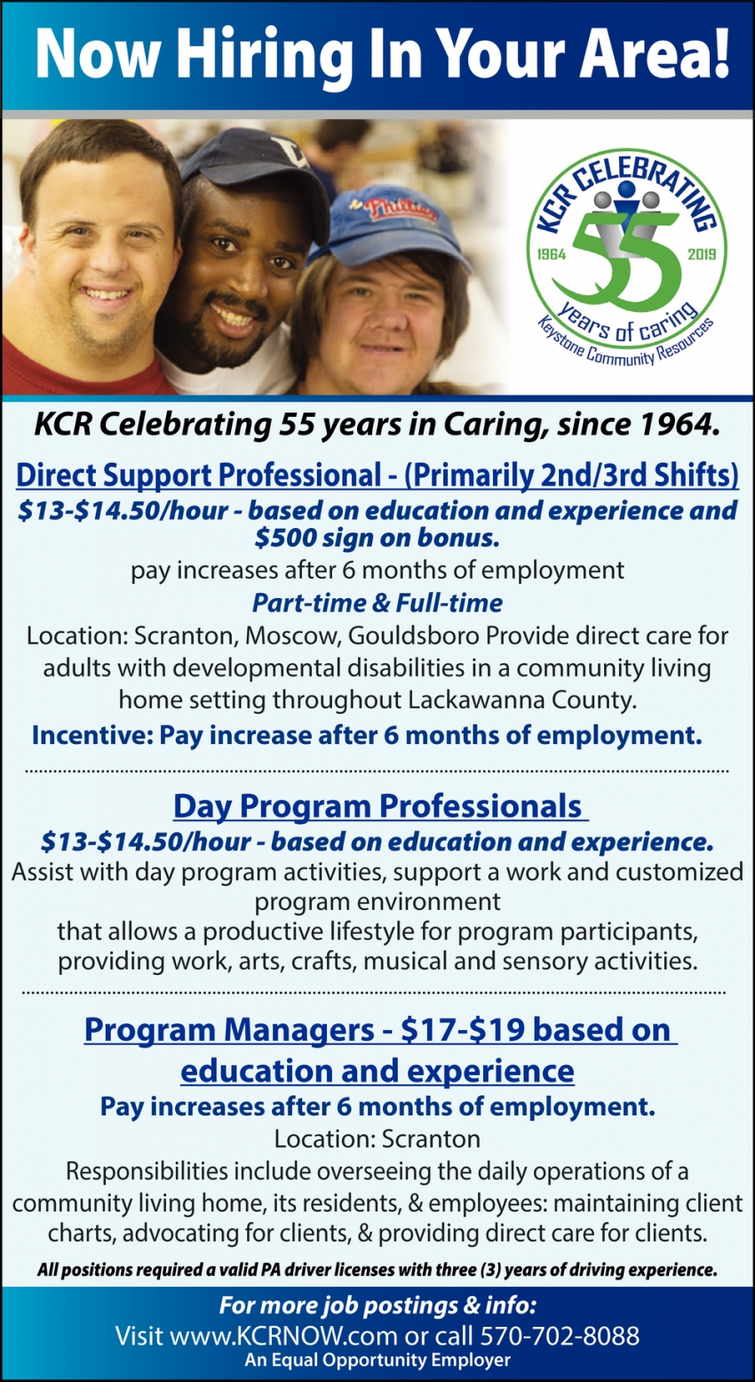 Direct Support Specialist, Day Program Professionals,  Program Managers