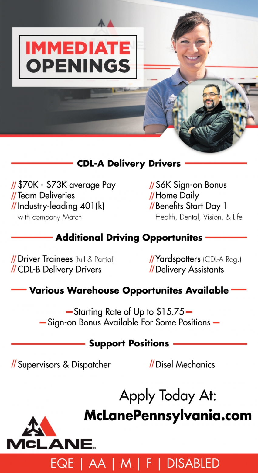 CDL-A Delivery Drivers - Additional Driving Opportunities - Various Warehouse Opportunities