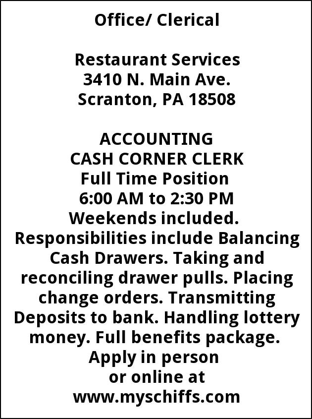 Accounting Cash Corner Clerk