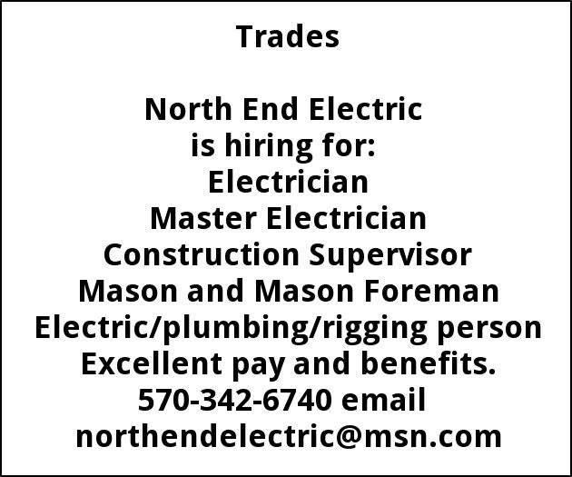 Electrician Helper Journeyman North End Electric