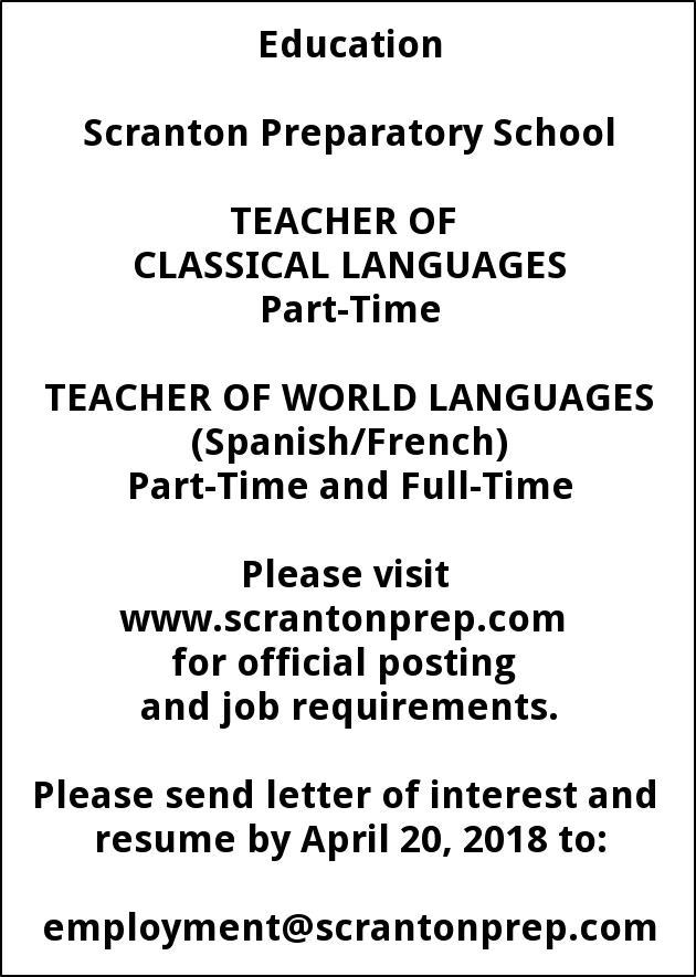 Teacher Of Classic Languages Scranton Preparatory School Scranton Pa