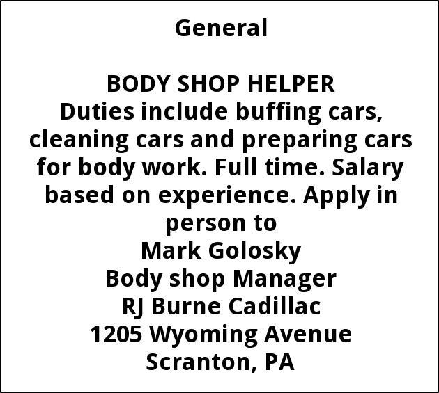 Body Shop Helper