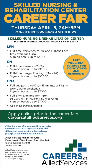 Allied  Services Job Fair April 5th