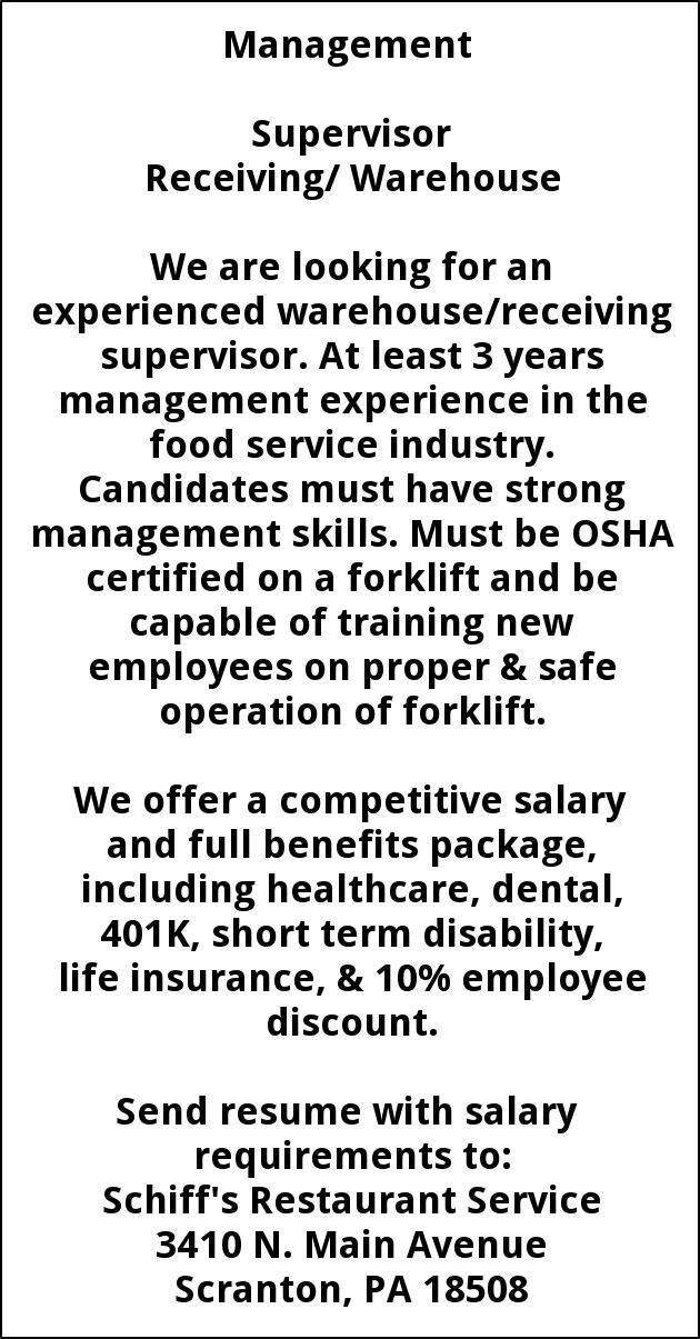 Supervisor Receiving / Warehouse