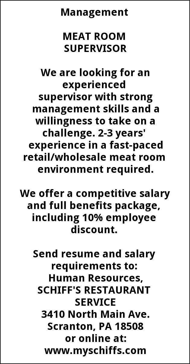 Meat Room Supervisor, Schiffs Cash & Carry, Scranton, PA