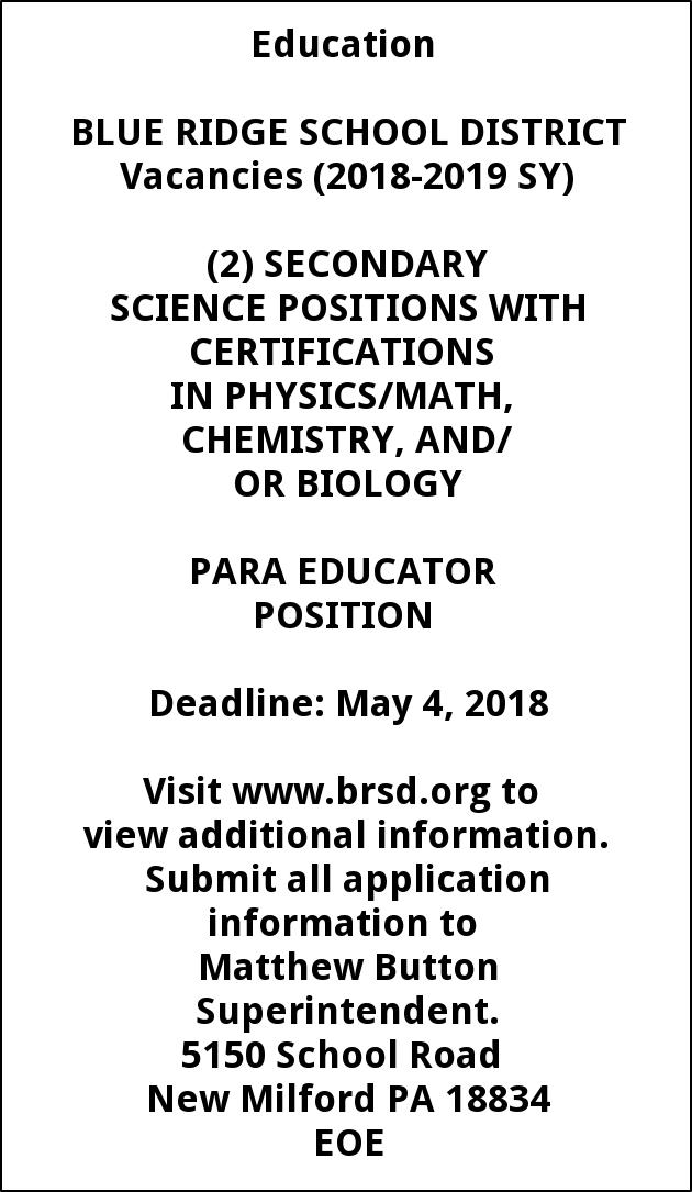 SECONDARY SCIENCE POSITIONS AND PARA EDUCATOR POSITION