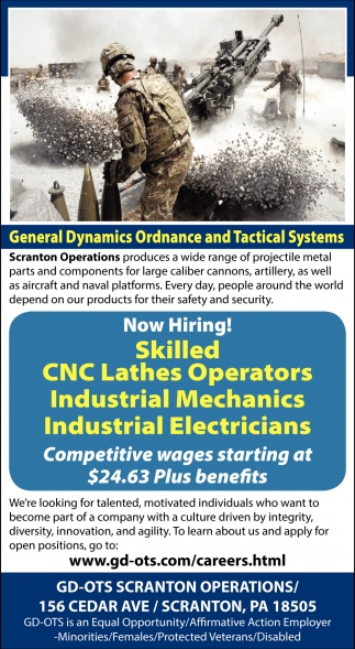 Now Hiring!, General Dynamics Ordenance And Tactical Systems