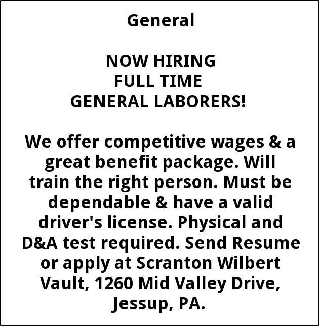 Laborers, Smith Wilbert Vault, Jessup, PA