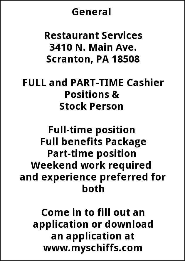 Cashier Positions & Stock Person