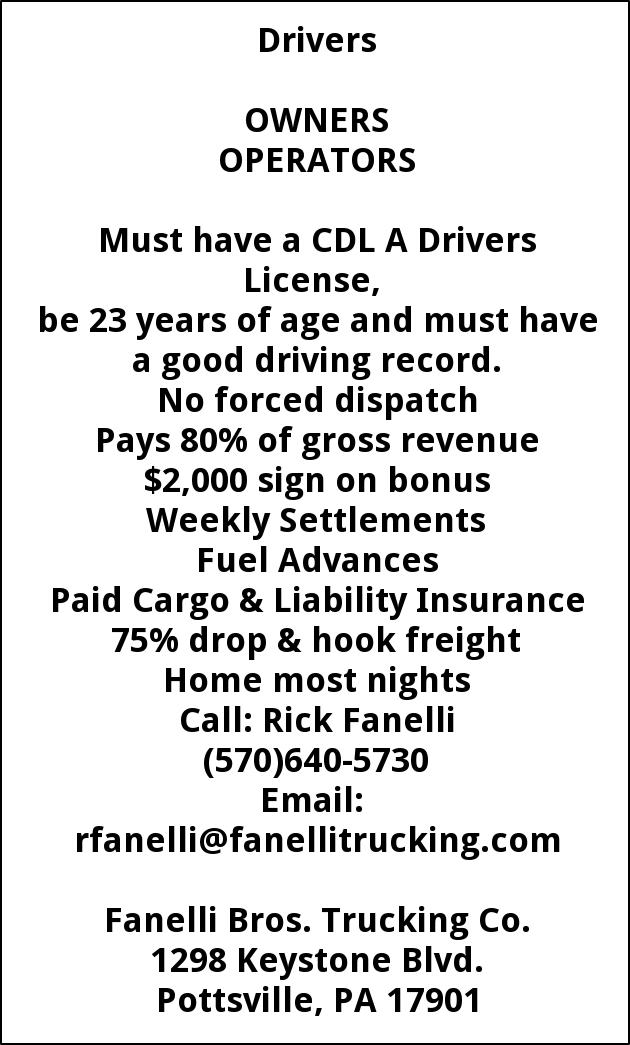 Jobs For Fanelli Brothers Trucking In Pottsville PA