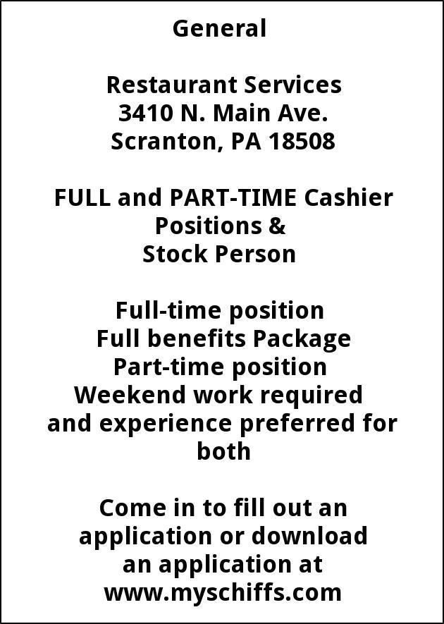 Cashier Positions Stock Person Schiffs Cash Carry Scranton Pa