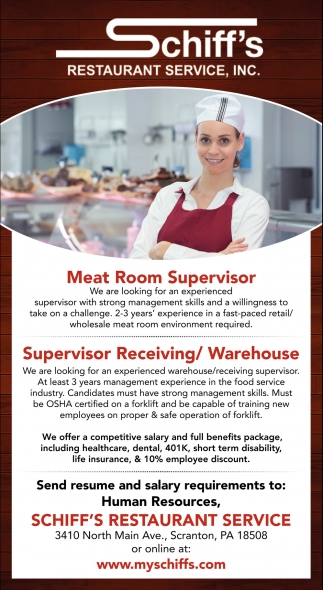 Meat Room Supervisor  Supervisor Receiving/ Warehouse