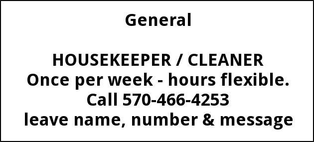 Housekeeper/cleaner